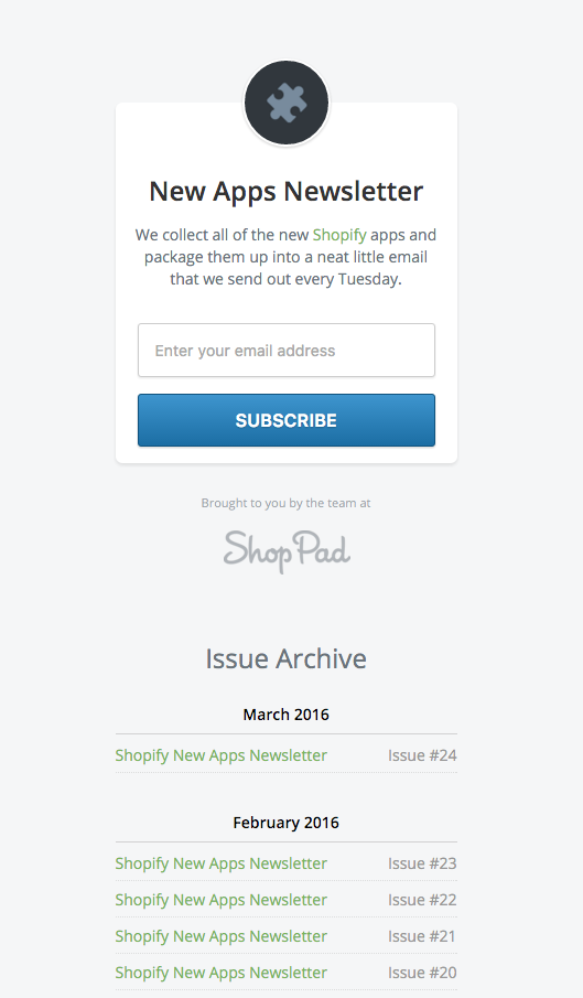 ShopPad Newsletter Archive - New Shopify Apps
