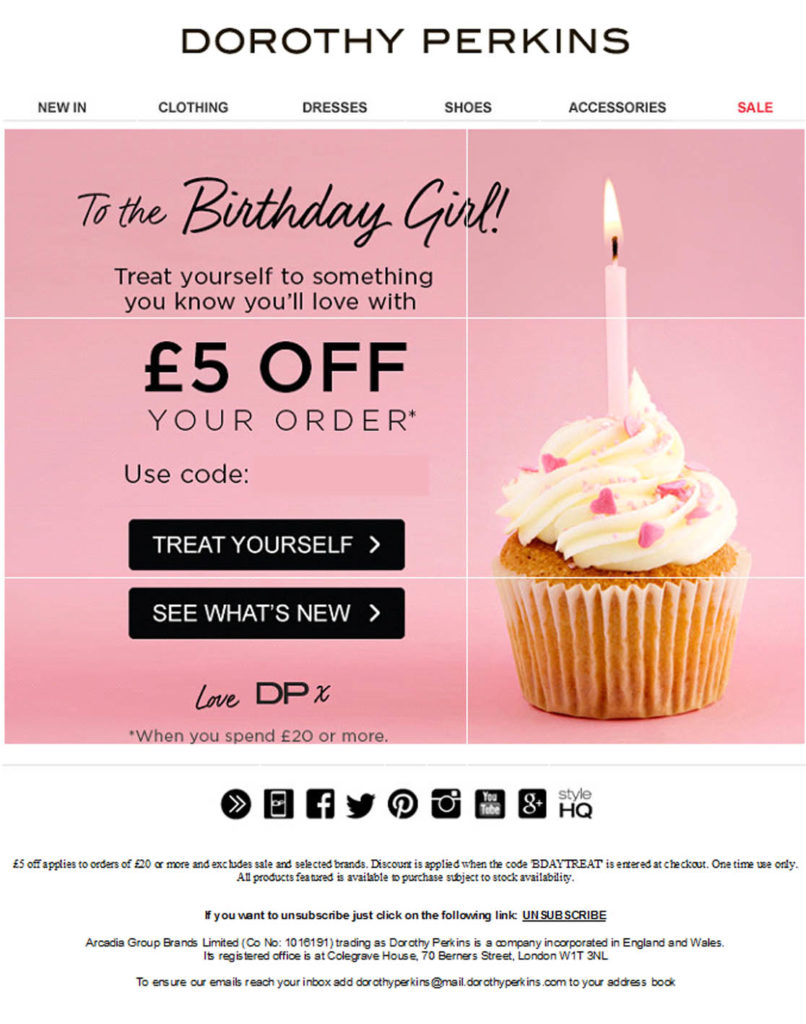 Birthday email promotion - email marketing