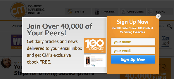 Opt-in email list popup