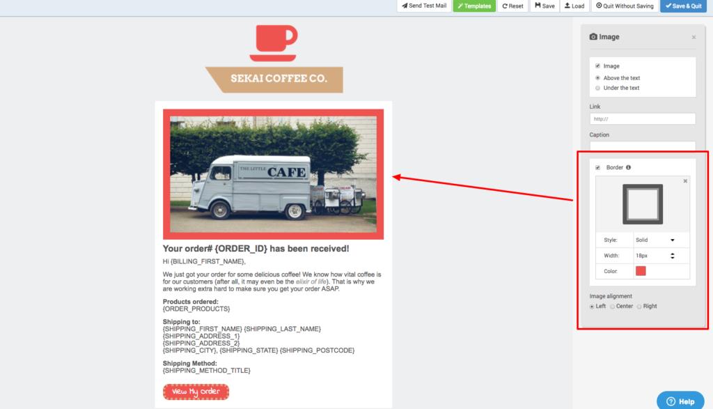 Email Template Designer Improvements - Image Border