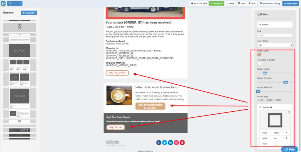 Email Template Designer Improvements - Button Border