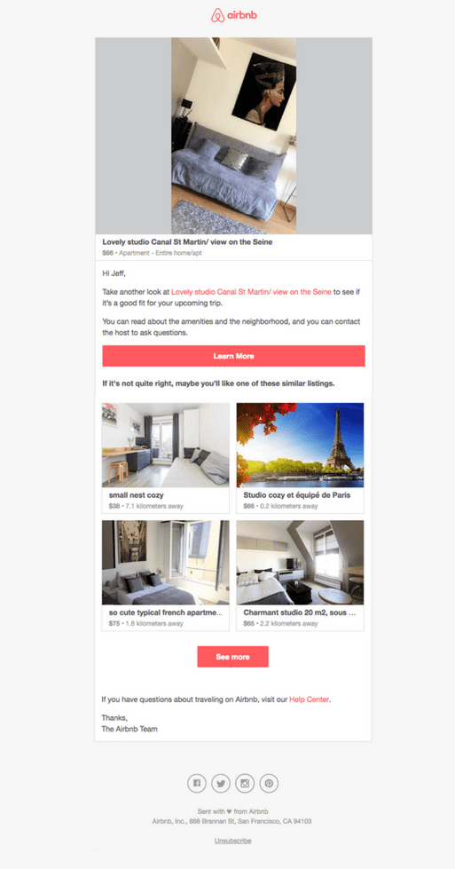 Email marketing case study: Airbnb Abandoned Cart