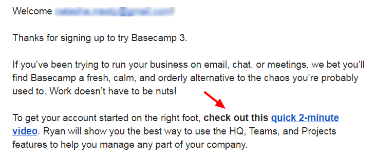 Basecamp setup welcome email example