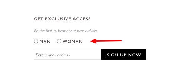 Gender preference in opt-in form