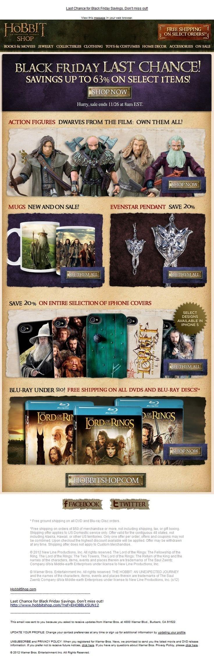 The Hobbit Shop Black Friday Email