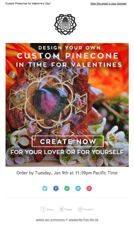3rd Eye Pinecones Valentine's Day Email