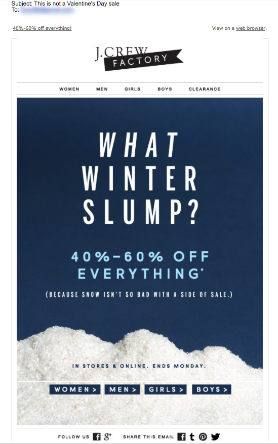 J Crew Not a Valentine's Day Email