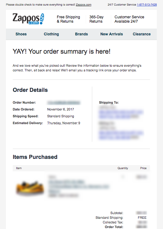 transactional emails example: order confirmation