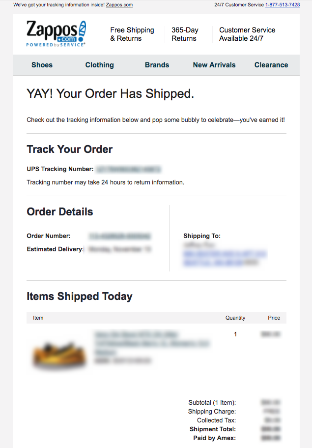 transactional emails example: shipping confirmation