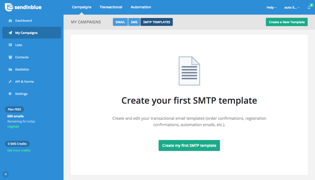 Create an SMTP template for automation