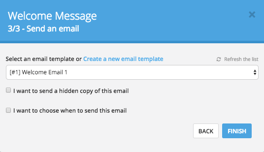 Select email template for workflow
