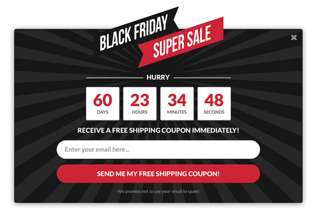 black friday opt-in example