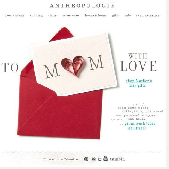 Anthropologie Mothers Day Email