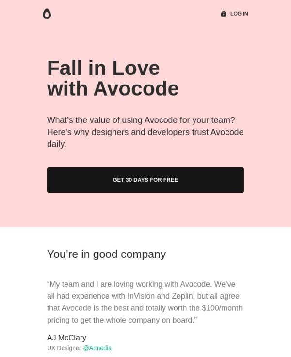 Email by Avocode targeting warm leads