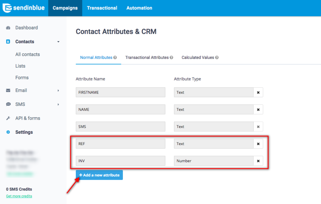 add contact attributes in Sendinblue