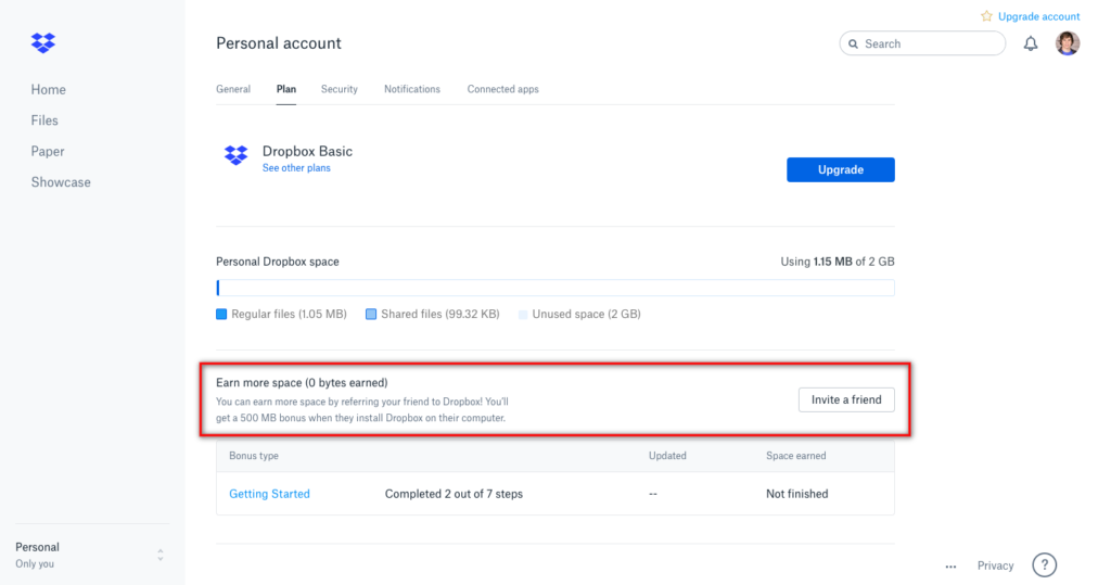 dropbox customer referral program