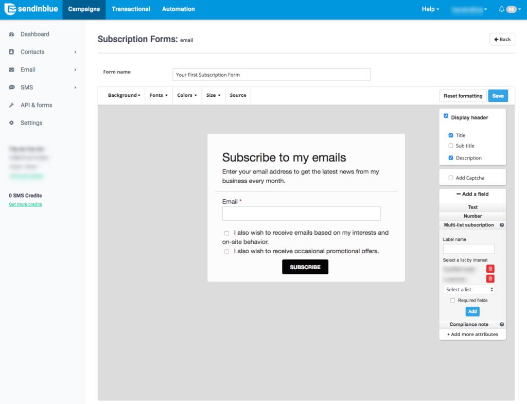 multi-list subscription form
