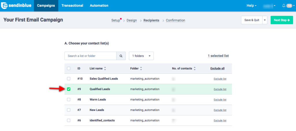 select a contact list for your email campaign