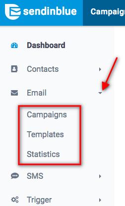 sendinblue ux improvements: email menu