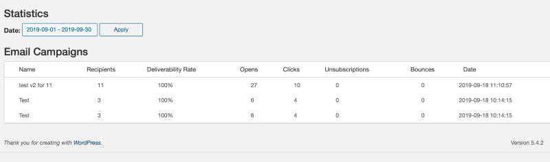 Email campaign statistics in the Sendinblue WordPress plugin