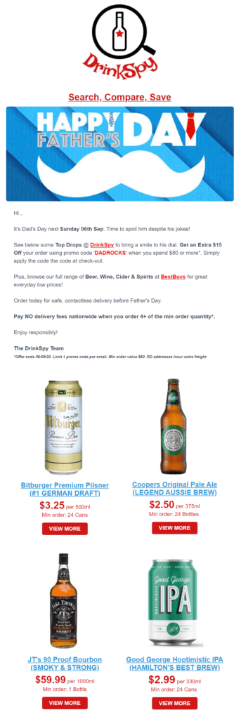 A Happy Father's Day email example from DrinkSpy