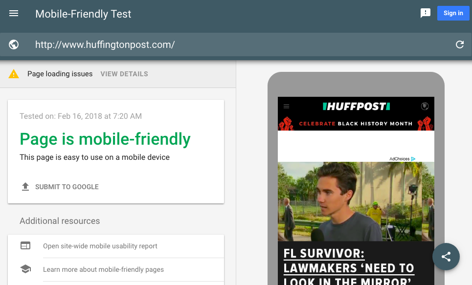 Mobile friendly test on google search console