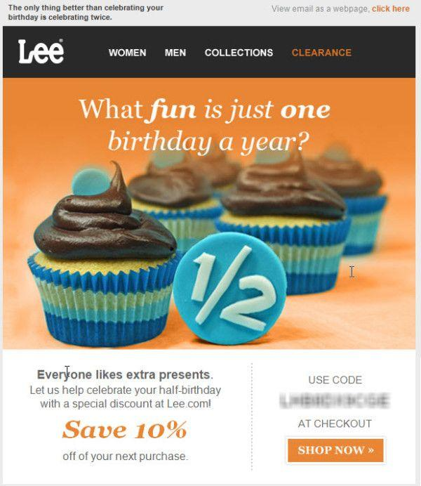 Lee birthday email example