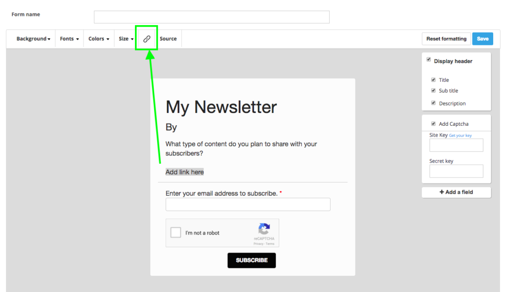 add link to newsletter subscription form