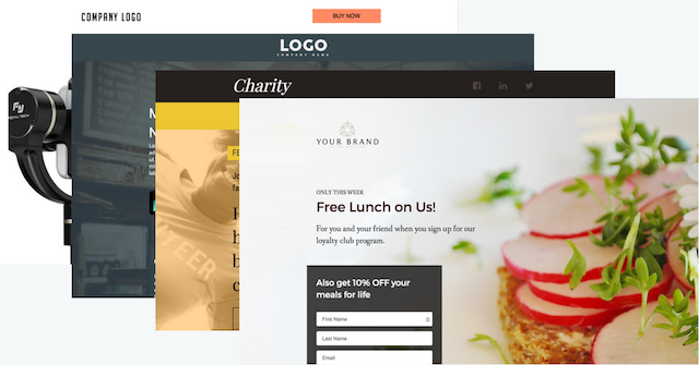 Landing page template spread