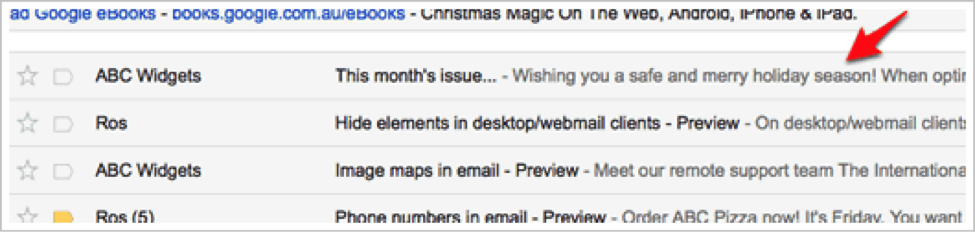 email preview text or preheader example