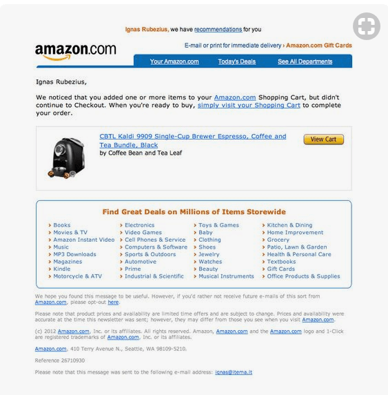 abandoned cart email from amazon