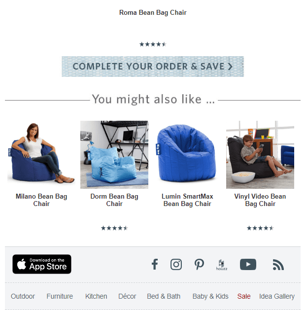 related product recommendations in an abandoned cart email