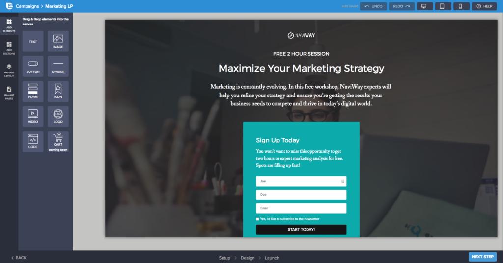 sample marketing landing page in Sendinblue