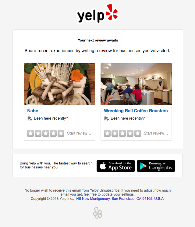 Yelp Review Email