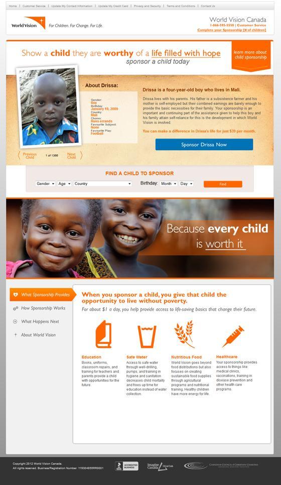 nonprofit donation landing page example