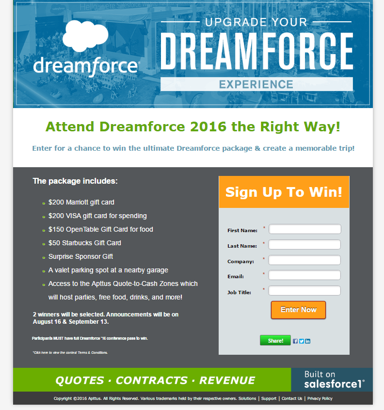 promotional contest landing page example