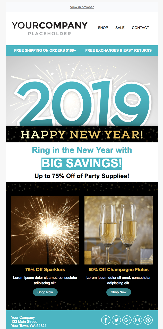 new year holiday email template