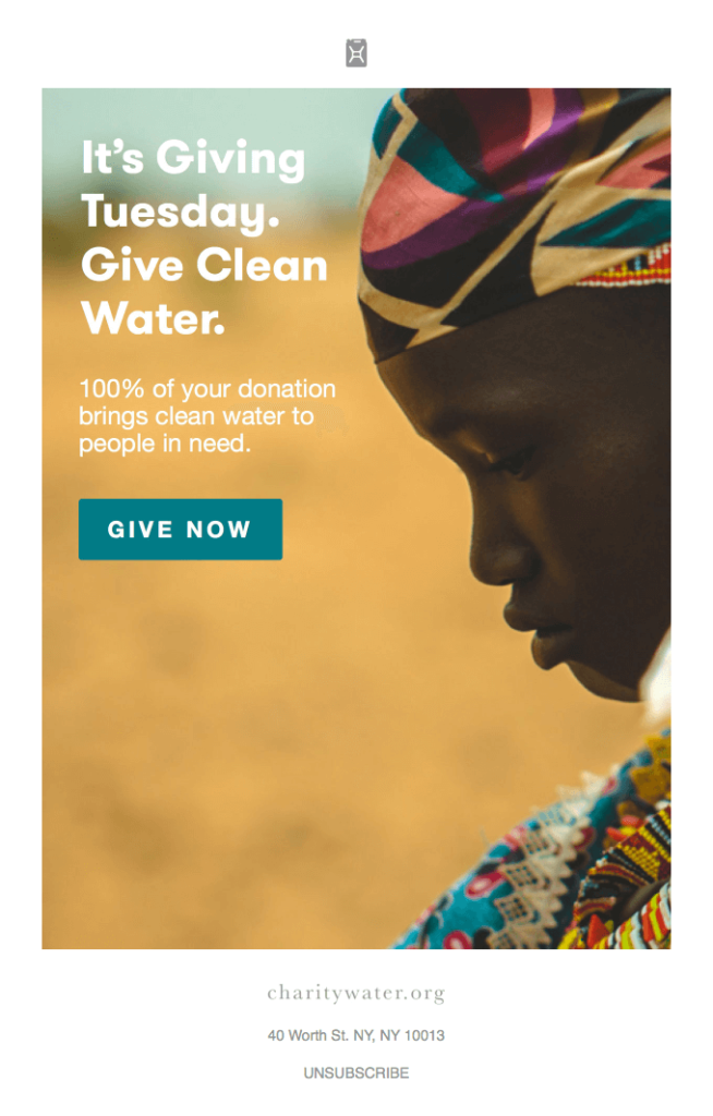 donation email from the nonprofit charity:water