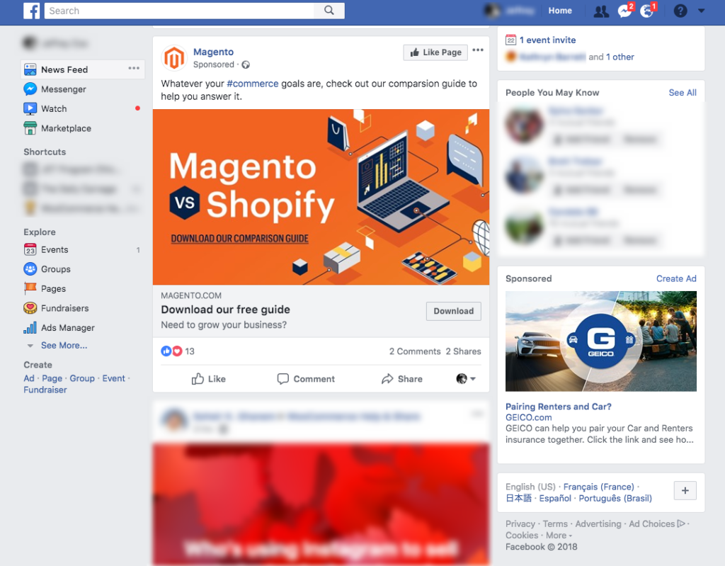 facebook retargeting ad examples and placement