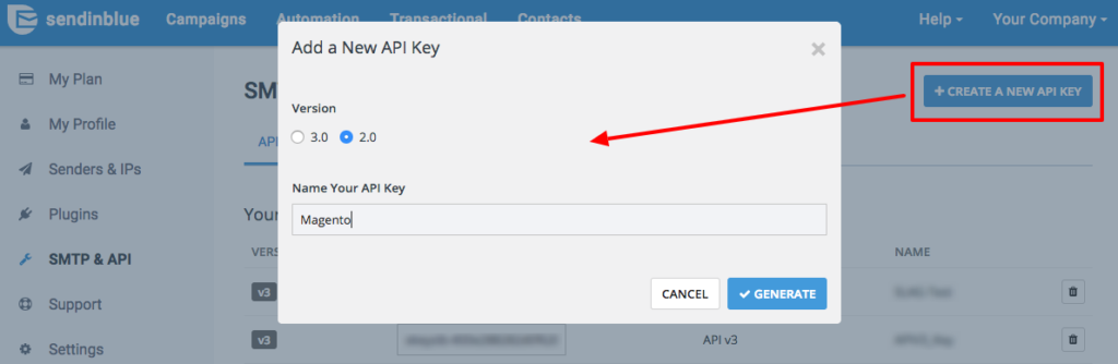 creating api key in sendinblue to send emails in magento