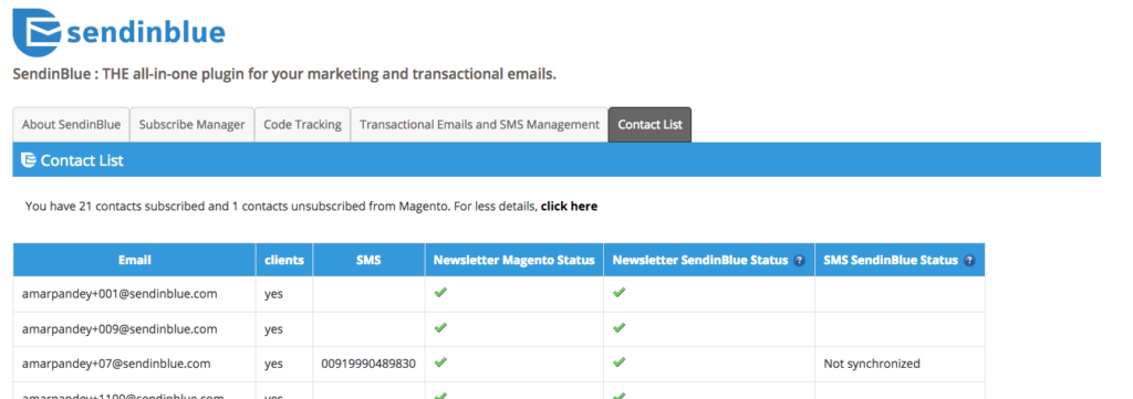syncing email contacts in magento with sendinblue