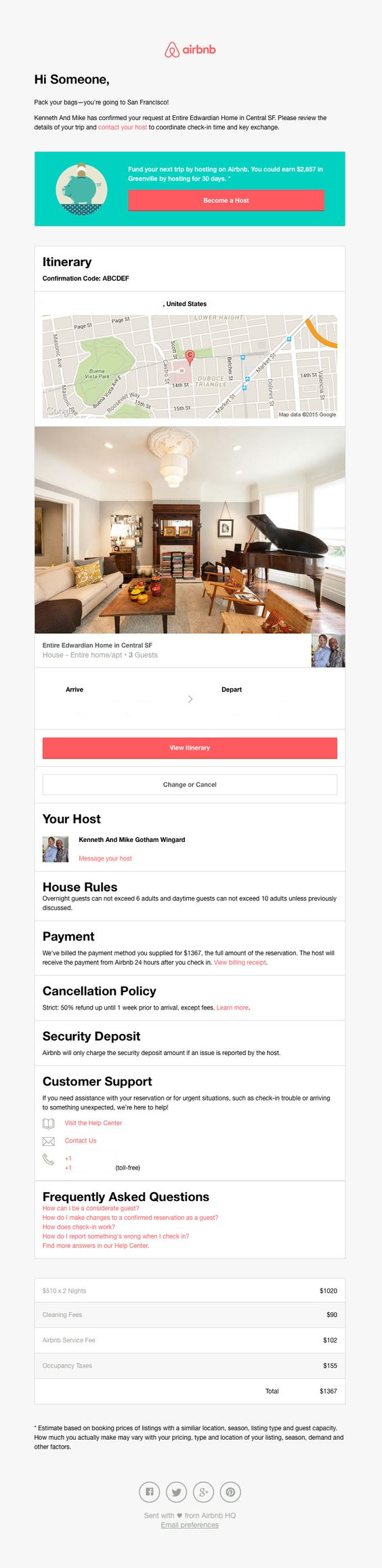 airbnb reservation transactional email design example