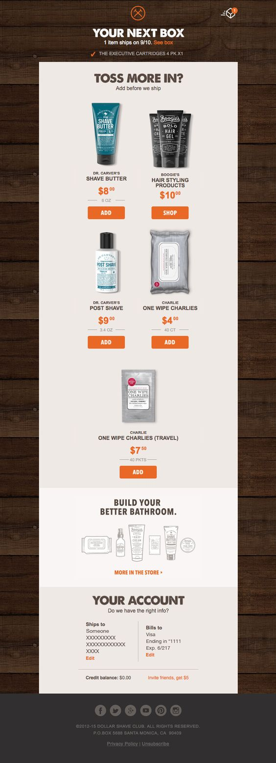 transactinoal email design example from dollar shave club