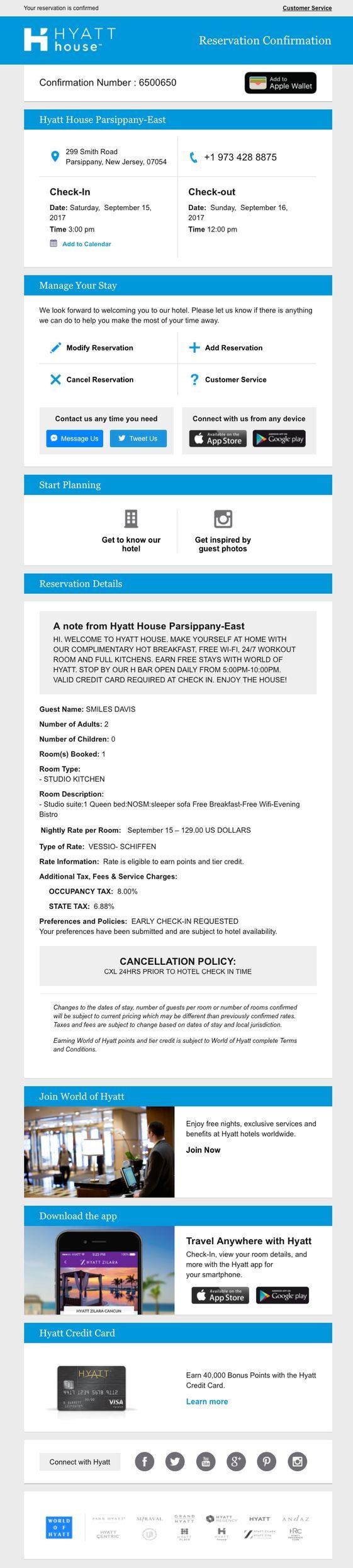hyatt transaction email design example