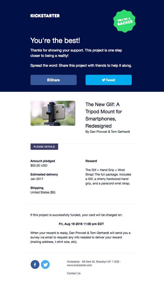 kickstarter simplistic transactional email design