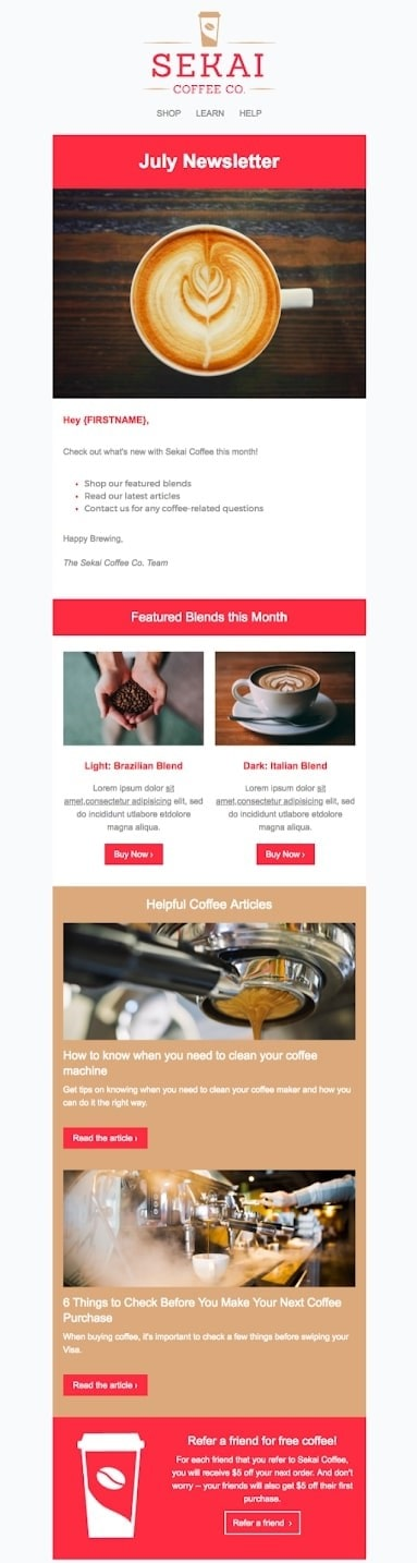 Ecommerce newsletter template for a coffee retailer with featured products and articles