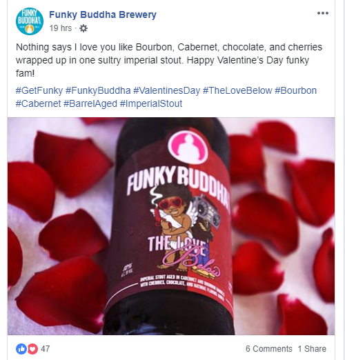Exemple of Facebook content with Funky Budha Brewery