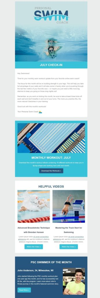 Newsletter template for an online media company with intro and featured content
