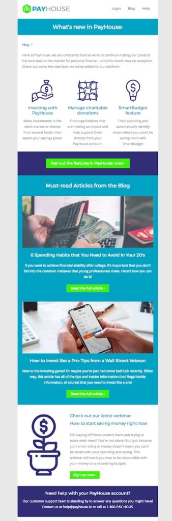 Email template for an SaaS company newsletter with product updates and content features