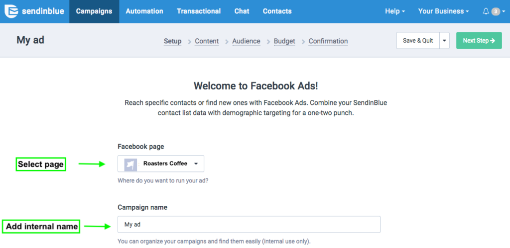Connect facebook ads with Sendinblue